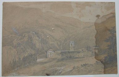 William Trost Richards (American, 1833-1905). <em>Vallombrosa</em>, October 29, 1855. Graphite and white on light brown paper, Sheet: 4 13/16 x 7 7/16 in. (12.2 x 18.9 cm). Brooklyn Museum, Gift of Edith Ballinger Price, 72.32.17.1 (Photo: Brooklyn Museum, CUR.72.32.17.1.jpg)