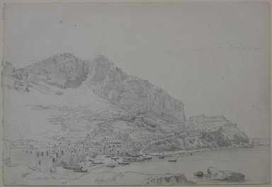 William Trost Richards (American, 1833-1905). <em>Coastal Village (Italy?)</em>, April 25, 1867. Graphite on paper, Sheet: 7 x 10 1/4 in. (17.8 x 26 cm). Brooklyn Museum, Gift of Edith Ballinger Price, 72.32.26 (Photo: Brooklyn Museum, CUR.72.32.26.jpg)