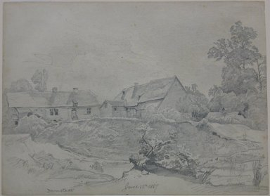 William Trost Richards (American, 1833-1905). <em>Cottages</em>, June 15, 1867. Graphite on paper, Sheet: 8 13/16 x 12 in. (22.4 x 30.5 cm). Brooklyn Museum, Gift of Edith Ballinger Price, 72.32.27 (Photo: Brooklyn Museum, CUR.72.32.27.jpg)