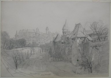William Trost Richards (American, 1833-1905). <em>Nürnberg</em>, March 24, 1867. Graphite on medium, cream, wove paper (sketchbook page), Sheet: 6 15/16 x 10 1/16 in. (17.6 x 25.6 cm). Brooklyn Museum, Gift of Edith Ballinger Price, 72.32.30 (Photo: Brooklyn Museum, CUR.72.32.30.jpg)