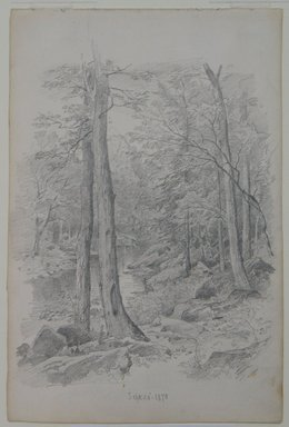 William Trost Richards (American, 1833-1905). <em>Landscape with Stream</em>, September 20, 1870. Graphite on paper, Sheet: 10 3/8 x 6 15/16 in. (26.4 x 17.6 cm). Brooklyn Museum, Gift of Edith Ballinger Price, 72.32.32 (Photo: Brooklyn Museum, CUR.72.32.32.jpg)
