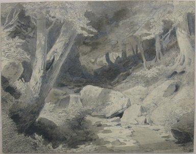 William Trost Richards (American, 1833-1905). <em>Landscape</em>, 1854. Ink wash, graphite, and crayon on paper, sheet: 4 5/8 x 5 13/16 in. (11.7 x 14.8 cm). Brooklyn Museum, Gift of Edith Ballinger Price, 72.32.4 (Photo: Brooklyn Museum, CUR.72.32.4.jpg)