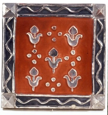 American Encaustic Tile Company Ltd. (1875-1935). <em>Square Tile</em>, ca. 1928. Earthenware, 4 7/16 x 4 7/16 x 5/8 in. (11.3 x 11.3 x 1.6 cm). Brooklyn Museum, H. Randolph Lever Fund, 72.40.13. Creative Commons-BY (Photo: Brooklyn Museum, CUR.72.40.13_view1.jpg)