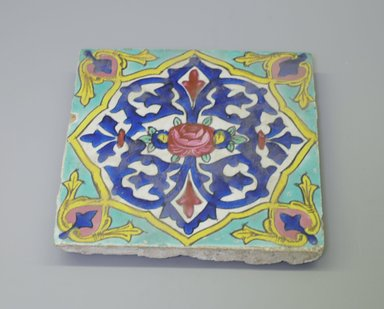 <em>Tile</em>, ca. 1830-1840. Ceramic, 7 11/16 x 1 1/16 x 7 11/16 in. (19.6 x 2.7 x 19.6 cm). Brooklyn Museum, Purchased with funds given by Mr. and Mrs. Charles K. Wilkinson, 72.90.2. Creative Commons-BY (Photo: Brooklyn Museum, CUR.72.90.2.jpg)