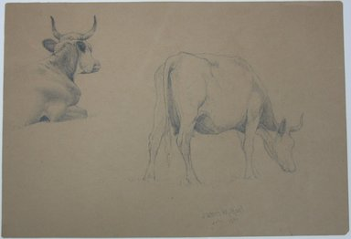 James McDougal Hart (American, born Scotland, 1828-1901). <em>Study of Cows</em>, July 1871. Graphite on paper, Sheet: 10 7/16 x 15 1/4 in. (26.5 x 38.7 cm). Brooklyn Museum, Gift of Mr. and Mrs. Maurice Glickman, 73.117.1 (Photo: Brooklyn Museum, CUR.73.117.1.jpg)
