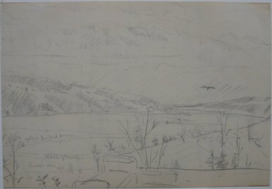 Louis Michel Eilshemius (American, 1864-1942). <em>Landscape (with Mountains and Lake)</em>, n.d. Graphite on lined paper, Sheet: 5 1/16 x 7 5/16 in. (12.9 x 18.6 cm). Brooklyn Museum, Gift of Mr. and Mrs. Maurice Glickman, 73.117.2 (Photo: Brooklyn Museum, CUR.73.117.2.jpg)