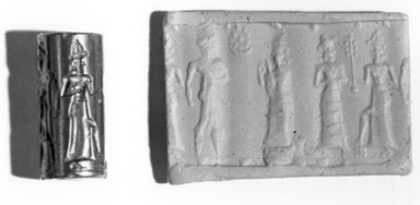 Ancient Near Eastern. <em>Cylinder Seal</em>, 18th century B.C.E. Hematite, 15/16 x Diam. 3/8 in. (2.4 x 1 cm). Brooklyn Museum, Gift of the Leon and Harriet Pomerance Foundation, 73.31.1. Creative Commons-BY (Photo: , CUR.73.31.1_print_bw.jpg)