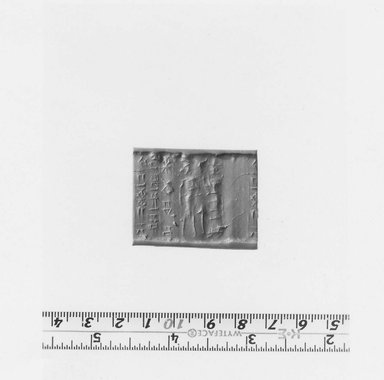 Ancient Near Eastern. <em>Cylinder Seal</em>, 16th century B.C.E. Serpentine, 1 1/4 x Diam .1/2 in. (3.2 x 1.3 cm). Brooklyn Museum, Leon and Harriet Pomerance Foundation, 73.31.5. Creative Commons-BY (Photo: Brooklyn Museum, CUR.73.31.5_NegA_print_bw.jpg)