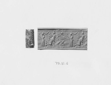 Ancient Near Eastern. <em>Cylinder Seal: Figures Flanking Offering Table</em>, late 8th-7th century B.C.E. Marble, 1/4 x 1 1/4 in. (0.6 x 3.2 cm). Brooklyn Museum, Gift of the Leon and Harriet Pomerance Foundation, 73.31.6. Creative Commons-BY (Photo: Brooklyn Museum, CUR.73.31.6_NegA_print_bw.jpg)