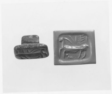 Ancient Near Eastern. <em>Stamp Seal: Horned Quadruped with Elongated Body</em>, late 5th millennium-early 4th millennium B.C.E. Steatite, 1 1/8 x 1 1/2 in. (2.9 x 3.8 cm). Brooklyn Museum, Gift of the Leon and Harriet Pomerance Foundation, 73.31.7. Creative Commons-BY (Photo: Brooklyn Museum, CUR.73.31.7_NegE_print_bw.jpg)