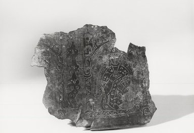 Byzantine (Turkish influence). <em>Fragment from Basin</em>. Bronze, 1 7/8 x 1 9/16 in. (4.8 x 4 cm). Brooklyn Museum, Gift of Marianne Maspero, 73.50. Creative Commons-BY (Photo: Brooklyn Museum, CUR.73.50_NegA_print_bw.jpg)