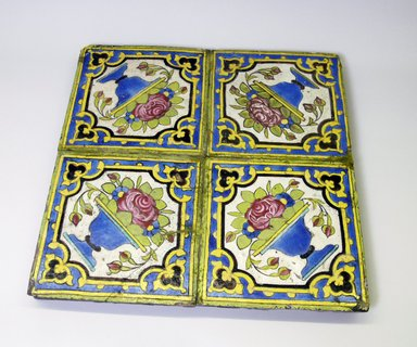 <em>Panel of Four Tiles</em>, ca.1830-1840. Decorated ceramic, 17 1/8 x 7/16 x 17 3/16 in. (43.5 x 1.1 x 43.7 cm). Brooklyn Museum, Gift of Mr. and Mrs. Paul E. Manheim, 74.100. Creative Commons-BY (Photo: Brooklyn Museum, CUR.74.100.jpg)