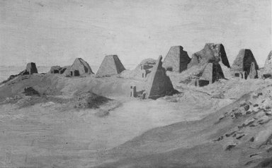 Joseph Lindon Smith. <em>Northern Group of Pyramids at Meroe (Kabushiyah) as seen, in 1921, from the NNE Prior to Their Excavation</em>, ca. 1921. Painting on canvas, 23 1/2 x 16 1/2 in. (59.7 x 41.9 cm). Brooklyn Museum, Gift of Mrs. Ashton Sanborn, 74.48. Creative Commons-BY (Photo: Brooklyn Museum, CUR.74.48_NegL647_4A_print_bw.jpg)