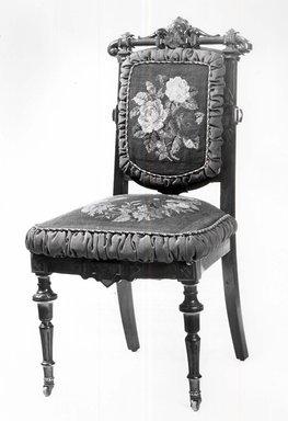 <em>Side Chair (reception) (Renaissance Revival style)</em>, ca. 1865. Walnut, mahogany; original upholstery, 38 3/4 x 20 1/2 x 17 3/4 in. (98.4 x 52.1 x 45.1 cm). Brooklyn Museum, Gift of John H. Livingston, 74.96.1. Creative Commons-BY (Photo: Brooklyn Museum, CUR.74.96.1_bw.jpg)