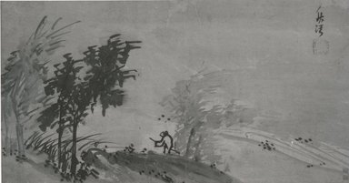 <em>Landscape</em>, 19th century. Ink on paper, overall: 23 3/4 x 49 3/4 in. (60.3 x 126.4 cm). Brooklyn Museum, Gift of Dr. Frederick Baekeland, 75.118 (Photo: Brooklyn Museum, CUR.75.118_bw.jpg)