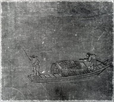 <em>Fishermen (Album Leaf)</em>, 14th century. Ink and light color on silk, Overall: 15 1/8 x 18 3/4 in. (38.4 x 47.6 cm). Brooklyn Museum, Gift of Howard Hollis, 75.172.23 (Photo: Brooklyn Museum, CUR.75.172.23_bw.jpg)
