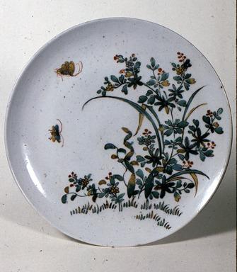 <em>Ko-Kutani Dish</em>, 17th century. Porcelain with overglaze enamel decoration, Diam: 9 3/8 in. (23.8 cm). Brooklyn Museum, Gift of Mr. and Mrs. Samuel H. Lindenbaum, 75.174. Creative Commons-BY (Photo: Brooklyn Museum, CUR.75.174_front.JPG)