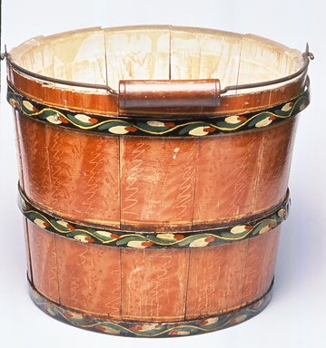 Attributed to Joseph Long Lehn (1789-1892). <em>Bucket with Handle</em>, ca. 1885. Wood, iron, metal, and paint, Height: 9 1/2 in. (24.1 cm). Brooklyn Museum, Gift of Mr. and Mrs. Alastair B. Martin, the Guennol Collection, 75.21. Creative Commons-BY (Photo: Brooklyn Museum, CUR.75.21.jpg)