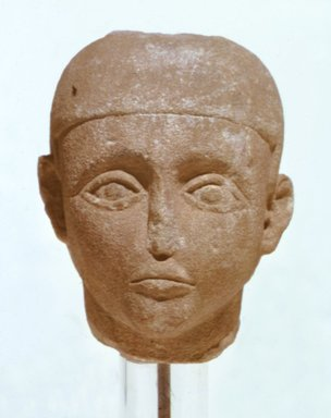Nubian. <em>Head from a Ba-Bird Statue</em>, 1st century B.C.E.-2nd century C.E. Sandstone, 6 3/4 x 5 x 6 in. (17.1 x 12.7 x 15.2 cm). Brooklyn Museum, Charles Edwin Wilbour Fund, 75.26. Creative Commons-BY (Photo: Brooklyn Museum, CUR.75.26.jpg)