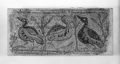<em>Mosaic Panel from Homs</em>. Marble, 14 7/8 x 31 15/16 x 2 3/16 in. (37.8 x 81.2 x 5.6 cm). Brooklyn Museum, Gift of Walter Marks, 75.50. Creative Commons-BY (Photo: Brooklyn Museum, CUR.75.50_negA_bw.jpg)