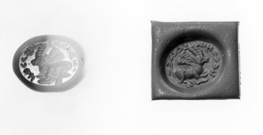 Ancient Near Eastern. <em>Stamp Seal: Gazelle with Flying Ribbons and Inscription</em>, 3rd-7th century C.E. Chalcedony, 1/2 x 3/8 x 1/2 in. (1.3 x 0.9 x 1.2 cm). Brooklyn Museum, Designated Purchase Fund, 75.55.14. Creative Commons-BY (Photo: Brooklyn Museum, CUR.75.55.14_negA_bw.jpg)