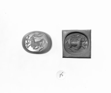Ancient Near Eastern. <em>Stamp Seal: Recumbent Gazelle with Plant</em>, 3rd-7th century C.E. Chalcedony, 13/16 x 5/8 x 3/4 in. (2.1 x 1.6 x 1.9 cm). Brooklyn Museum, Designated Purchase Fund, 75.55.15. Creative Commons-BY (Photo: Brooklyn Museum, CUR.75.55.15_negA_bw.jpg)