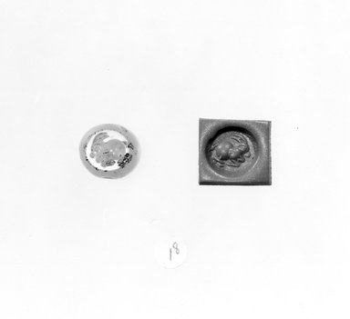 Ancient Near Eastern. <em>Stamp Seal: Rabbit</em>, 3rd-7th century C.E. Chalcedony, 1/2 x 3/8 x 7/16 in. (1.3 x 1 x 1.1 cm). Brooklyn Museum, Designated Purchase Fund, 75.55.18. Creative Commons-BY (Photo: Brooklyn Museum, CUR.75.55.18_negA_bw.jpg)