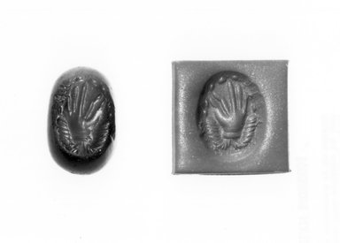 Ancient Near Eastern. <em>Stamp Seal: Hand Surmounting Ribbons</em>, 3rd-7th century C.E. Jasper, Accession Cards: Measurements:. Brooklyn Museum, Designated Purchase Fund, 75.55.6. Creative Commons-BY (Photo: Brooklyn Museum, CUR.75.55.6_negA_bw.jpg)