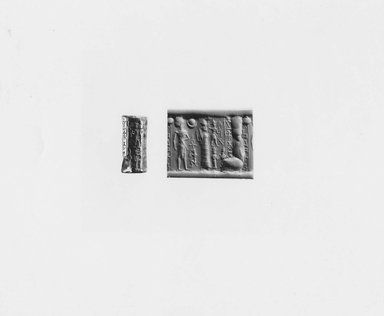 Ancient Near Eastern. <em>Cylinder Seal</em>, 1800-1650 B.C.E. Hematite, 1 1/16 x Diam. 1/2 in. (2.6 x 1.3 cm). Brooklyn Museum, Gift of Joel L. Malter, 76.145. Creative Commons-BY (Photo: Brooklyn Museum, CUR.76.145_NegA_print_bw.jpg)
