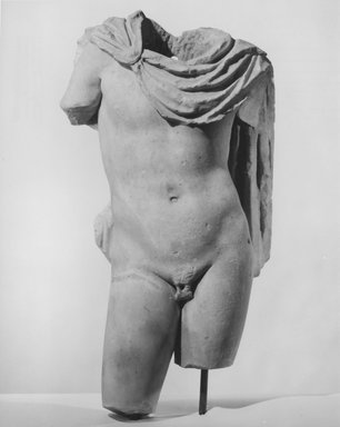 Roman. <em>Male Torso</em>, 2nd century C.E., probably. Marble, 30 1/2 x 16 5/16 x 9 1/4 in. (77.5 x 41.5 x 23.5 cm). Brooklyn Museum, Gift of Julius J. Ivanitsky, 76.171. Creative Commons-BY (Photo: Brooklyn Museum, CUR.76.171_NegA_print_bw.jpg)