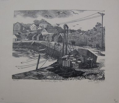 Grace Arnold Albee (American, 1890-1995). <em>In Harbour, Pigeon Cove</em>, 1955. Wood engraving on wove paper, Sheet: 9 1/4 x 10 3/8 in. (23.5 x 26.4 cm). Brooklyn Museum, Gift of the artist, 76.198.53. © artist or artist's estate (Photo: Brooklyn Museum, CUR.76.198.53.jpg)