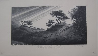 Grace Arnold Albee (American, 1890-1995). <em>Dunes - 'Yet pleased our eye pursues the trace / of Light and shade's inconstant race'</em>, 1961. Wood engraving on wove paper, Sheet: 6 1/4 x 10 3/4 in. (15.9 x 27.3 cm). Brooklyn Museum, Gift of the artist, 76.198.58. © artist or artist's estate (Photo: Brooklyn Museum, CUR.76.198.58.jpg)