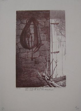 Grace Arnold Albee (American, 1890-1995). <em>Before decay's effacing fingers / Have swept the lines where beauty lingers</em>, 1963. Wood engraving on paper, Sheet: 10 1/2 x 7 9/16 in. (26.7 x 19.2 cm). Brooklyn Museum, Gift of the artist, 76.198.59. © artist or artist's estate (Photo: Brooklyn Museum, CUR.76.198.59.jpg)