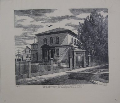 Grace Arnold Albee (American, 1890-1995). <em>Touro Synagogue, Newport, Rhode Island</em>, 1966. Wood engraving on paper, Image: 7 7/8 x 9 13/16 in. (20 x 24.9 cm). Brooklyn Museum, Gift of the artist, 76.198.69. © artist or artist's estate (Photo: Brooklyn Museum, CUR.76.198.69.jpg)