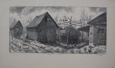 Grace Arnold Albee (American, 1890-1995). <em>Hungarian American Farm</em>, 1943. Wood engraving on wove paper, Sheet: 9 1/16 x 15 1/8 in. (23 x 38.4 cm). Brooklyn Museum, Gift of the artist, 76.198.90. © artist or artist's estate (Photo: Brooklyn Museum, CUR.76.198.90.jpg)