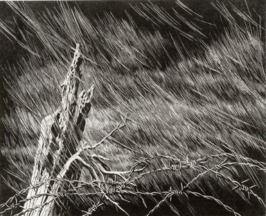 Grace Arnold Albee (American, 1890-1995). <em>Turbulence</em>, 1965. Wood engraving on paper, Sheet: 10 5/16 x 12 1/2 in. (26.2 x 31.8 cm). Brooklyn Museum, Gift of the artist, 76.198.92. © artist or artist's estate (Photo: Brooklyn Museum, CUR.76.198.92.jpg)