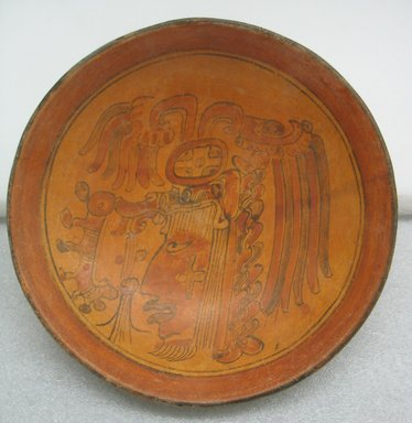 Maya. <em>Plate</em>, ca. 550-850 C.E. Ceramic, pigment, 3 x 12 x 12 in. (7.6 x 30.5 x 30.5 cm). Brooklyn Museum, Gift of Dr. Milton and Madeline Gardner, 77.175. Creative Commons-BY (Photo: Brooklyn Museum, CUR.77.175_view1.jpg)