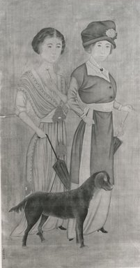 purportedly by Lang Shining (Chinese, 1688-1766). <em>Two European Women with a Dog</em>, 20th century (possibly). Ink and color on silk., Image: 51 x 26 1/2 in. (129.5 x 67.3 cm). Brooklyn Museum, Gift of Evelyn Metzger, 77.206.2 (Photo: Brooklyn Museum, CUR.77.206.2_bw.jpg)