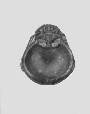 <em>Lion Bowl</em>, 9th-8th century B.C.E. Limestone or clay, 2 3/16 x 3 1/4 x 4 1/16 in. (5.6 x 8.3 x 10.3 cm). Brooklyn Museum, Special Middle Eastern Art Fund, 77.51. Creative Commons-BY (Photo: Brooklyn Museum, CUR.77.51_NegB_print_bw.jpg)