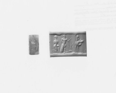 Ancient Near Eastern. <em>Cylinder Seal</em>, ca. 730-600 B.C.E. Carnelian, 3/4 x Diam. 3/8 in. (1.9 x 1 cm). Brooklyn Museum, Special Hagop Kevorkian Grant Fund, 77.52.2. Creative Commons-BY (Photo: Brooklyn Museum, CUR.77.52.2_NegA_print_bw.jpg)