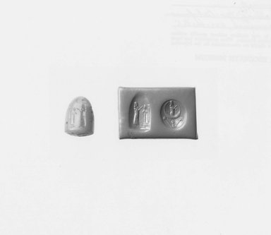 Ancient Near Eastern. <em>Stamp Seal</em>, 625-400 B.C.E. Rose quartz, 9/16 x 3/8 x 7/16 in. (1.5 x 0.9 x 1.1 cm). Brooklyn Museum, Special Hagop Kevorkian Grant Fund, 77.52.4. Creative Commons-BY (Photo: Brooklyn Museum, CUR.77.52.4_NegA_print_bw.jpg)