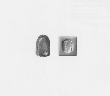 Ancient Near Eastern. <em>Stamp Seal</em>, ca. 625-539 B.C.E. Chalcedony, 1 1/16 x 1/2 x 11/16 in. (2.6 x 1.3 x 1.7 cm). Brooklyn Museum, Special Hagop Kevorkian Grant Fund, 77.52.5. Creative Commons-BY (Photo: Brooklyn Museum, CUR.77.52.5_NegA_print_bw.jpg)