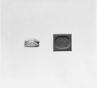 Ancient Near Eastern. <em>Stamp Seal in the Shape of a Scarab</em>, 7th-6th century B.C.E. Agate, 3/8 x 1/2 x 11/16 in. (1 x 1.3 x 1.7 cm). Brooklyn Museum, Special Middle Eastern Art Fund, 77.89. Creative Commons-BY (Photo: Brooklyn Museum, CUR.77.89_NegA_print_bw.jpg)