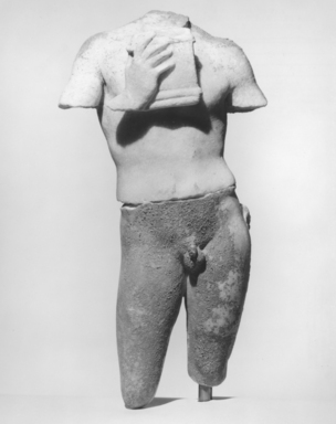 Roman. <em>Torso of a Youth playing a Pan Pipe</em>, 30 B.C.E.-395 C.E. Marble, 11 1/4 x 6 5/16 x 3 3/4 in. (28.5 x 16 x 9.5 cm). Brooklyn Museum, Gift of Julius J. Ivanitsky, 78.132. Creative Commons-BY (Photo: Brooklyn Museum, CUR.78.132_NegA_print_bw.jpg)