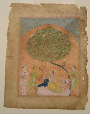 Indian. <em>Laurak and Chanda Rest on Their Journey to a Trysting Place, Leaf from a Chandayana Manuscript</em>, early 16th century. Opaque watercolor and gold on paper, sheet: 10 x 7 11/16 in.  (25.4 x 19.5 cm). Brooklyn Museum, Gift of Mr. and Mrs. H. Peter Findlay, 78.198 (Photo: Brooklyn Museum, CUR.78.198.jpg)