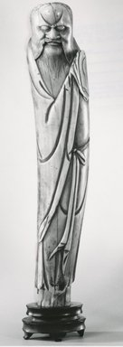 <em>Figure of a Daoist Immortal</em>, 16th century. Ivory, 8 x 1 1/2 x 1 1/4 in. (20.3 x 3.8 x 3.2 cm). Brooklyn Museum, Gift of Dr. Martin E. Frankel, 78.249.1. Creative Commons-BY (Photo: Brooklyn Museum, CUR.78.249.1_bw.jpg)