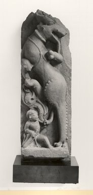 <em>Shardula and Warrior</em>, ca. 11th century. Sandstone, 26 1/4 x 8 1/2 in. (66.7 x 21.6 cm). Brooklyn Museum, Gift of Emily Manheim Goldman, 78.250.1. Creative Commons-BY (Photo: Brooklyn Museum, CUR.78.250.1_bw.jpg)