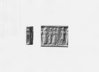 Ancient Near Eastern. <em>Cylinder Seal</em>, ca. 1500-1300 B.C.E. Hematite, 15/16 x Diam. 3/8 in. (2.4 x 1 cm). Brooklyn Museum, Special Middle Eastern Art Fund, 78.3. Creative Commons-BY (Photo: Brooklyn Museum, CUR.78.3_NegA_print_bw.jpg)