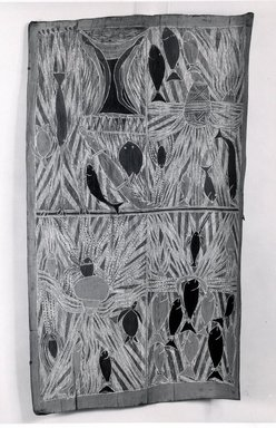 Mawalan Marika (Yolngu, Aboriginal Australian, 1908-1967). <em>Bark Painting</em>, 20th century. Eucalyptus bark, pigments, 39 x 23 x 3 3/4 in. (99.1 x 58.4 x 9.5 cm). Brooklyn Museum, Gift of Mr. and Mrs. Sid Feinberg, 79.1 (Photo: Brooklyn Museum, CUR.79.1.jpg)