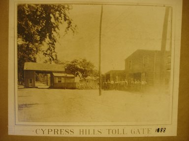 American. <em>Cypress Hills Toll Gate</em>, 1888. Photograph in sepia, sheet: 7 x 8 5/8 in.  (17.8 x 21.9 cm);. Brooklyn Museum, Gift of Herbert D. Wallace, 79.107.3 (Photo: Brooklyn Museum, CUR.79.107.3.jpg)